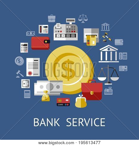 Digital vector blue business icons with drawn simple line art info graphic, big golden coin in the center with economy elements around, flat style