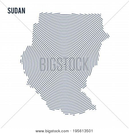 Vector Abstract Hatched Map Of Sudan With Spiral Lines Isolated On A White Background.
