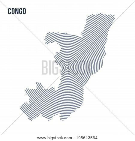 Vector Abstract Hatched Map Of Congo With Spiral Lines Isolated On A White Background.