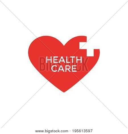 Digital vector pharmacy medical big red heart icon with drawn simple line art, flat style