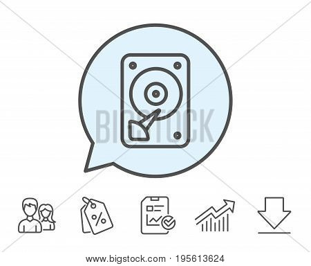 HDD icon. Hard disk storage sign. Hard drive memory symbol. Report, Sale Coupons and Chart line signs. Download, Group icons. Editable stroke. Vector