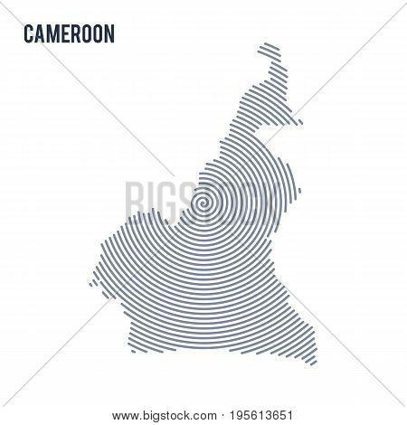 Vector Abstract Hatched Map Of Cameroon With Spiral Lines Isolated On A White Background.