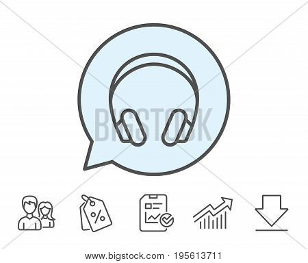 Headphones line icon. Music listening device sign. DJ or Audio symbol. Report, Sale Coupons and Chart line signs. Download, Group icons. Editable stroke. Vector