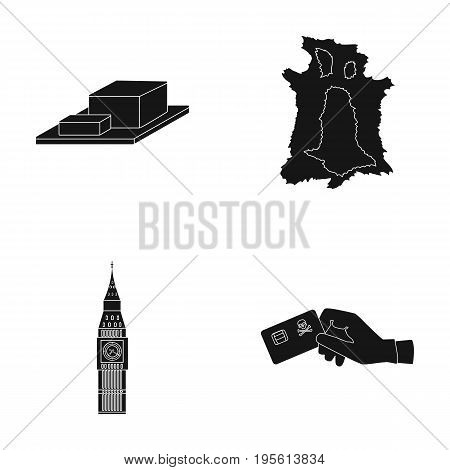 bones, Travel and or  icon in black style.history, crime icons in set collection.