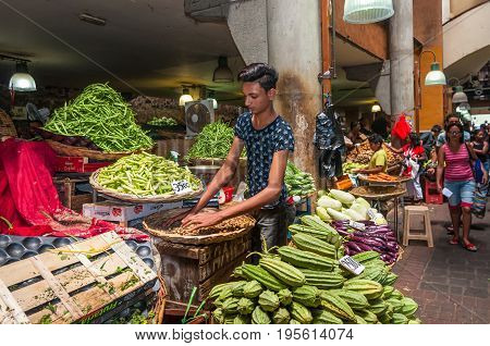 Port Louis Mauritius - December 25 2015: Central Market in Port Louis Mauritius. The Central Market is a tourist attraction and landmarks of the capital.