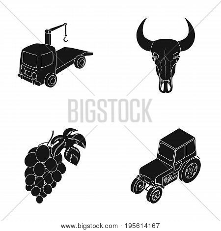 tractor, Winemaking and or  icon in black style. history, transport icons in set collection.