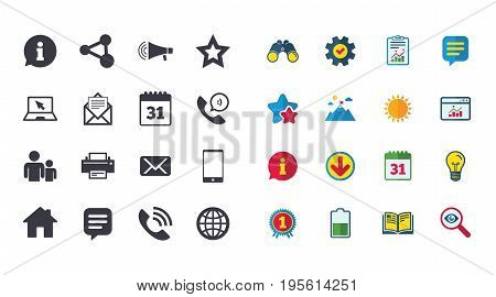 Set of Communication, Conference and Information icons. E-Mail, Printer and Internet signs. Speech bubble, Support and Phone call symbols. Calendar, Report and Browser window signs. Vector