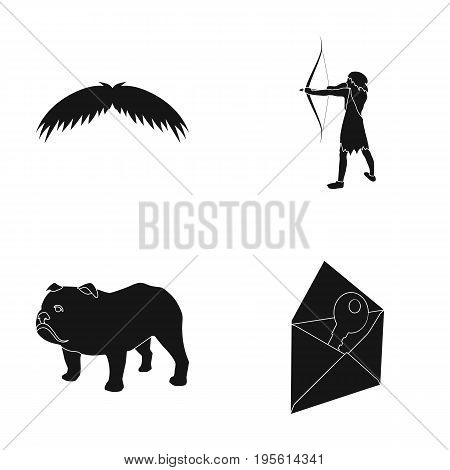 barber, history and or  icon in black style.travel, mail icons in set collection.