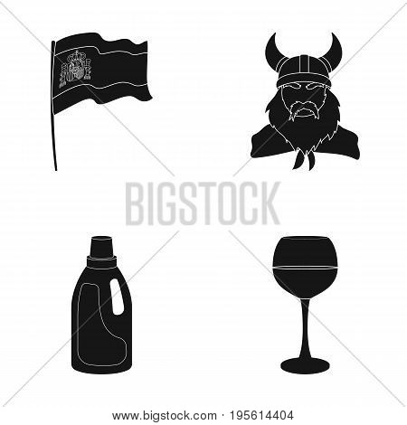 travel, cleaning and or  icon in black style. history, alcohol icons in set collection.