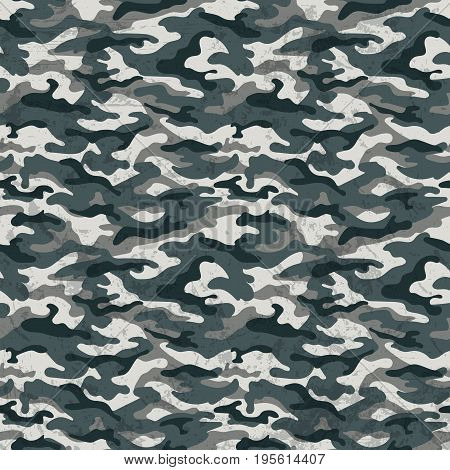 Military background gray camouflage with grunge effect. Vector illustration