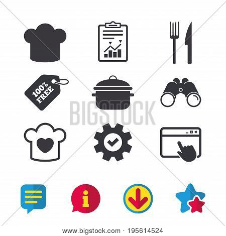 Chief hat and cooking pan icons. Fork and knife signs. Boil or stew food symbols. Browser window, Report and Service signs. Binoculars, Information and Download icons. Stars and Chat. Vector