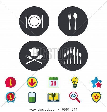 Plate dish with forks and knifes icons. Chief hat sign. Crosswise cutlery symbol. Dessert fork. Calendar, Information and Download signs. Stars, Award and Book icons. Light bulb, Shield and Search