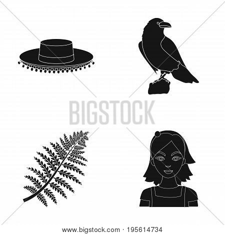 travel, biology and or  icon in black style. history, profession icons in set collection.