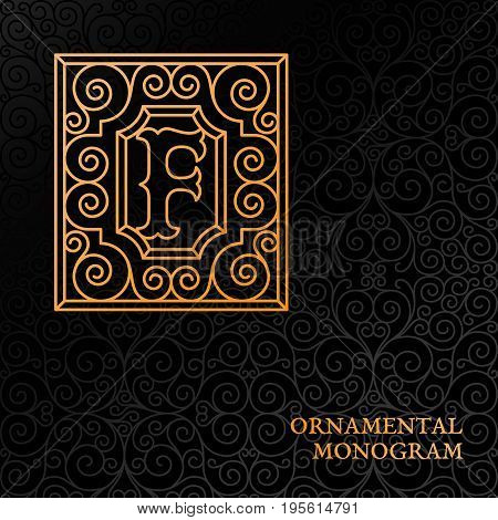 Flourishes luxury elegant ornamental monogram template with letter F in trendy linear style. Vector illustration.