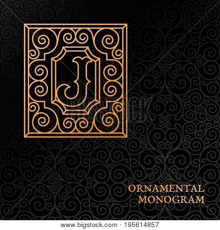 Flourishes luxury elegant ornamental monogram template with letter J in trendy linear style. Vector illustration.