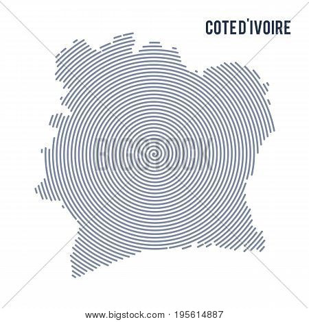 Vector Abstract Hatched Map Of Cote D'ivoire With Spiral Lines Isolated On A White Background.