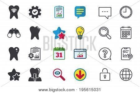 Dental care icons. Caries tooth sign. Tooth endosseous implant symbol. Tooth crystal jewellery. Chat, Report and Calendar signs. Stars, Statistics and Download icons. Question, Clock and Globe. Vector
