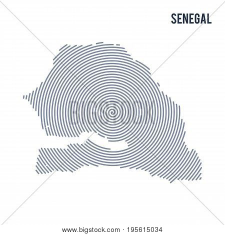 Vector Abstract Hatched Map Of Senegal With Spiral Lines Isolated On A White Background.