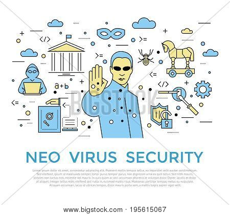 Digital vector color internet security data protection icons set drawn simple line art info graphic poster, hacker user bug vulnerability mobile email trojan malware cloud spy intercept mask, flat
