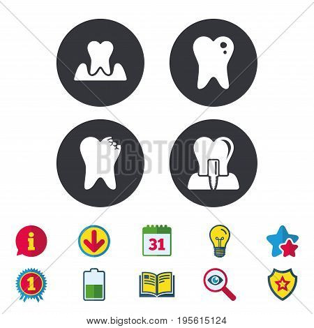 Dental care icons. Caries tooth sign. Tooth endosseous implant symbol. Parodontosis gingivitis sign. Calendar, Information and Download signs. Stars, Award and Book icons. Vector