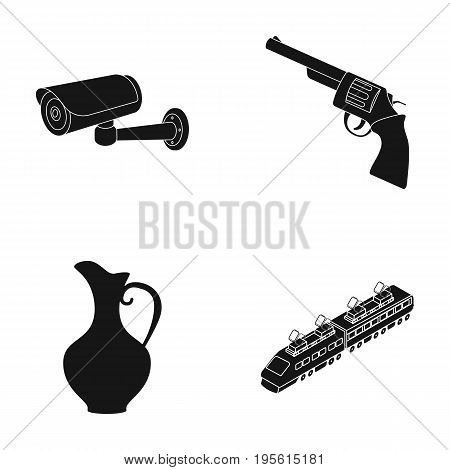 transport, police and or  icon in black style. history, weapons icons in set collection.