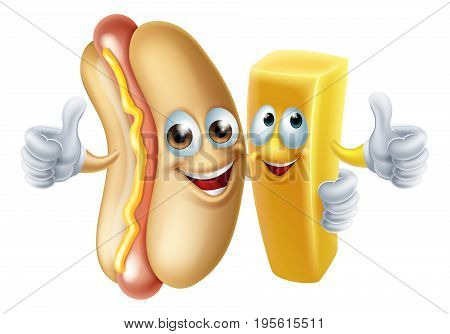 Cartoon hotdog and patoto chip french fry mascots