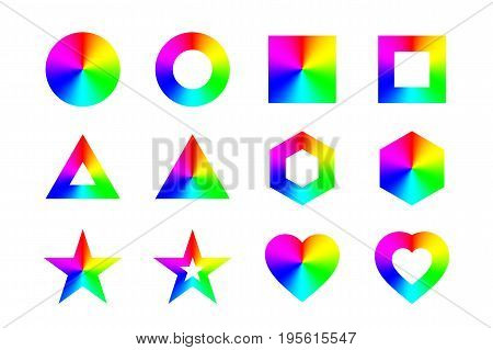 Geometric shapes and frames with conical rainbow gradient, isolated on white background. Vector illustration