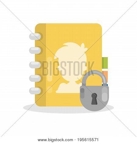 Diary book lock. Isolated diary with persona information under protection.