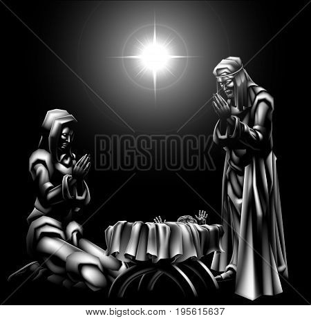 Nativity scene traditional Christian Christmas scene of baby Jesus beneath the star with Mary and Joseph
