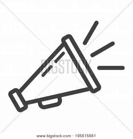 Promotion line icon, business and loudspeaker, vector graphics, a linear pattern on a white background, eps 10.