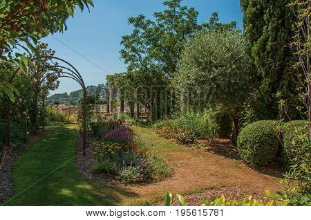 View of pleasant garden in the morning sun with blue sky, in the calm and charming village of Figanières. Located in the Var department, Provence region, southeastern France