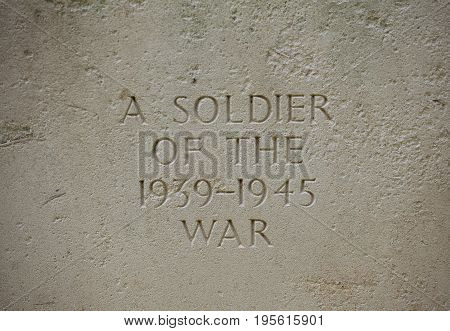Editorial st. valery-en-caux, France - July 04, 2017: A gravestone of an unknown soldier from World War Two, 'Known unto God', buried in a military cemetery in Northern France