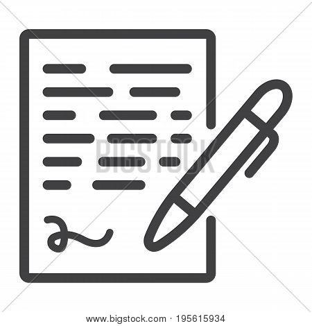 Pen signing line icon, business contract and signature, vector graphics, a linear pattern on a white background, eps 10.