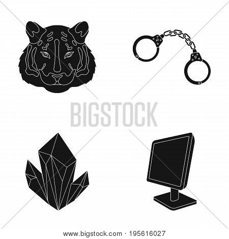 zoo, mining and or  icon in black style.jurisprudence, technology icons in set collection.