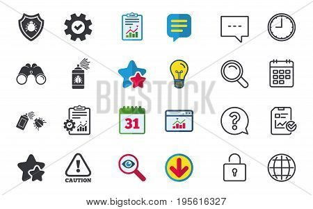 Bug disinfection icons. Caution attention and shield symbols. Insect fumigation spray sign. Chat, Report and Calendar signs. Stars, Statistics and Download icons. Question, Clock and Globe. Vector