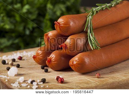 Wiener Sausages On Wooden Background
