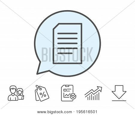 Document Management line icon. Information File sign. Paper page concept symbol. Report, Sale Coupons and Chart line signs. Download, Group icons. Editable stroke. Vector