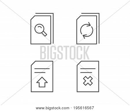 Document, Edit and Upload line icons. Document Management and Search signs. Quality design elements. Editable stroke. Vector