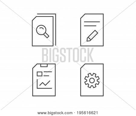 Document, Report and Edit file line icons. Document Management, Search and Service signs. Quality design elements. Editable stroke. Vector