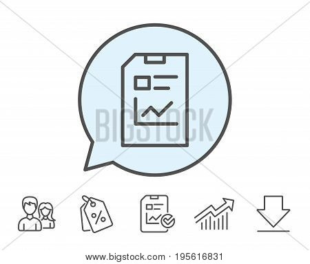 Report Document line icon. Analysis and Statistics File sign. Paper page concept symbol. Report, Sale Coupons and Chart line signs. Download, Group icons. Editable stroke. Vector
