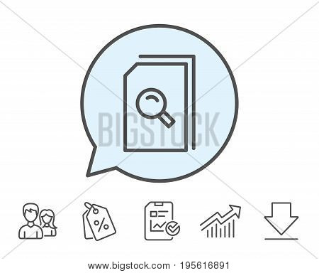 Search Documents line icon. File with Magnifying glass sign. Paper page concept symbol. Report, Sale Coupons and Chart line signs. Download, Group icons. Editable stroke. Vector