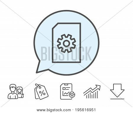 Document Management line icon. Information File with Cogwheel sign. Paper page concept symbol. Report, Sale Coupons and Chart line signs. Download, Group icons. Editable stroke. Vector