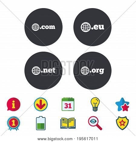 Top-level internet domain icons. Com, Eu, Net and Org symbols with globe. Unique DNS names. Calendar, Information and Download signs. Stars, Award and Book icons. Light bulb, Shield and Search. Vector
