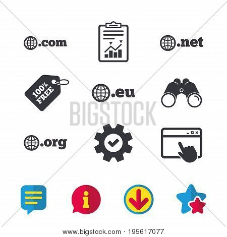 Top-level internet domain icons. Com, Eu, Net and Org symbols with globe. Unique DNS names. Browser window, Report and Service signs. Binoculars, Information and Download icons. Stars and Chat. Vector