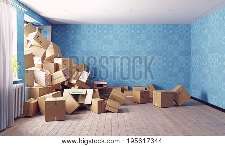The room heaping with card cardboard boxes . 3d render concept