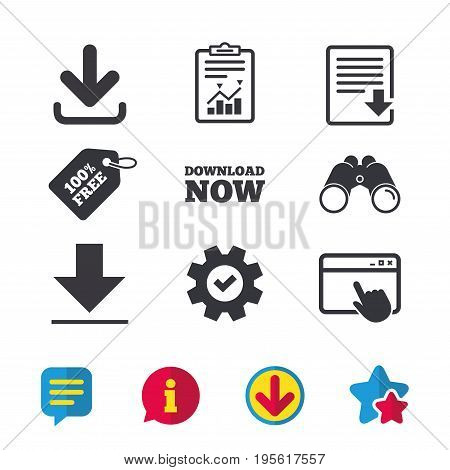 Download now icon. Upload file document symbol. Receive data from a remote storage signs. Browser window, Report and Service signs. Binoculars, Information and Download icons. Stars and Chat. Vector