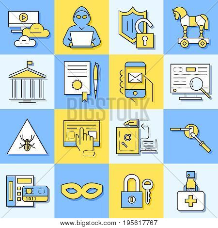 Digital vector blue internet security data protection icons set drawn simple line art info graphic poster, hacker user bug vulnerability mobile email trojan malware bank cloud spy intercept mask, flat