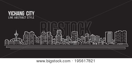 Cityscape Building Line art Vector Illustration design - Yichang city