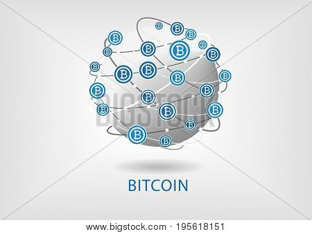 Bitcoin vector illustration with globe on grey background