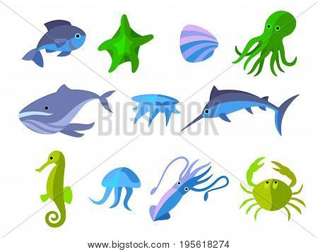 isolated flat icons of aquatic animals, vector flat illustration
